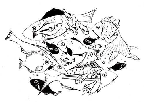 doodle of fishes