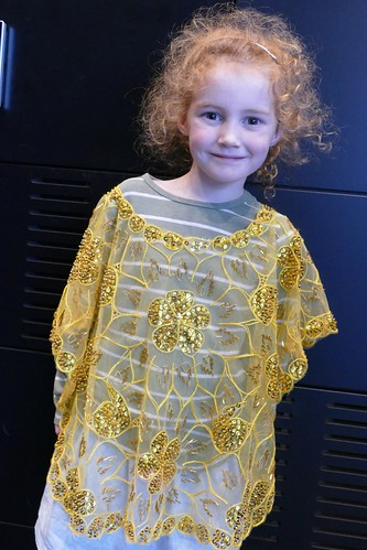 Esther wearing a  Kimona, a traditional Filipino blouse