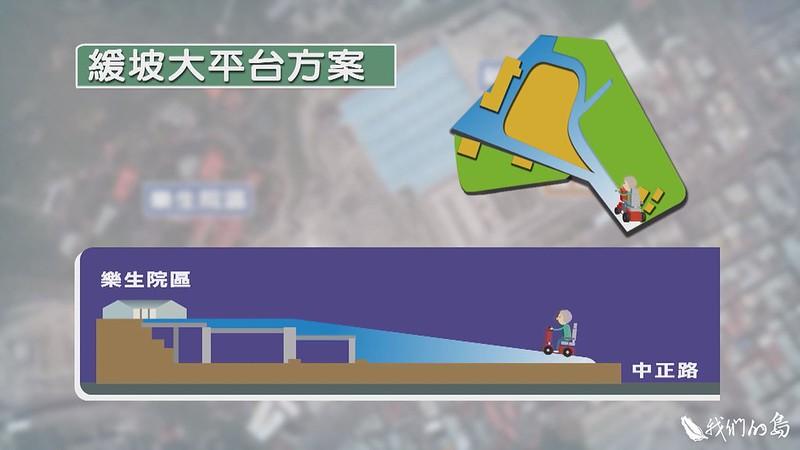 大平台方案的構想,是在現有捷運機廠軌道上立樁,讓這個對外通道形成自然緩坡,既使院民方便進出,同時也能重建過去的樂生大門意象。