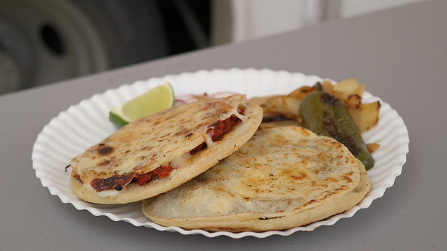 Different gorditas from Taqueria Plateros in Des Moines, Iowa