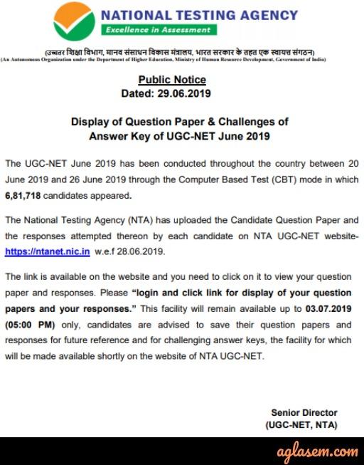 UGC NET Answer Key June 2019