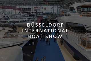 """Picture Title """"Düsseldorf International Boat Show"""" with many luxury yachts and fair visitors at the German boat- and watersports fair"""