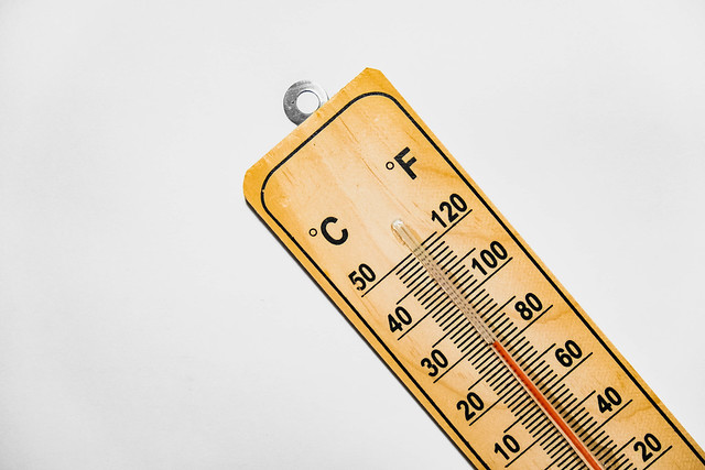 Wood thermometer on white background