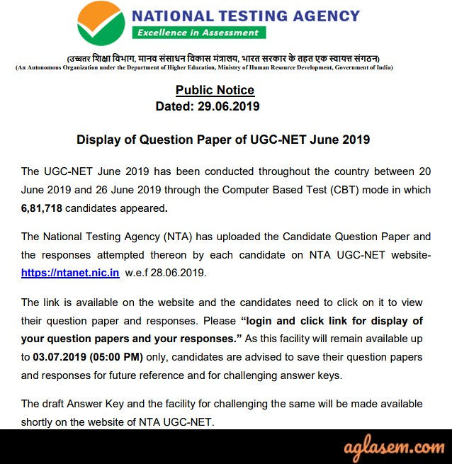 UGC NET Answer Key Notice