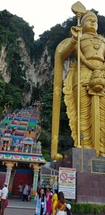 At the foot of the stairs leading yo Bato Caves, Kuala Lumpur.