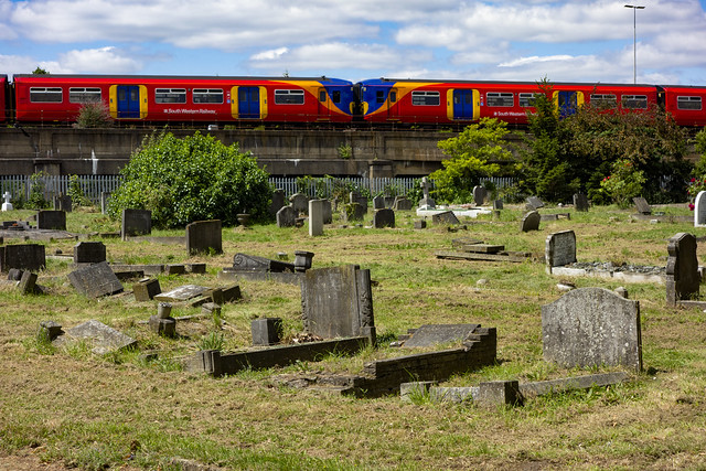 South Western Train Passes Gap Road Cemetery