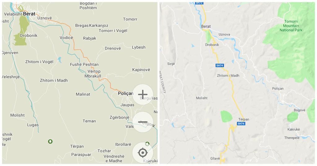 Berat to Përmet | Maps.me vs Google Maps