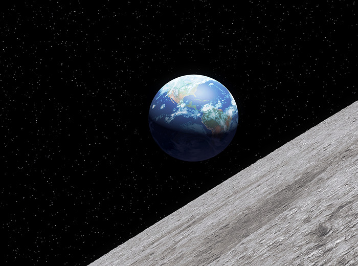 The earth above the moon's horizon.