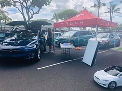 """Hawaiian Electric at the Kapolei Sustainability Fair — June 29, 2019: Tesla welcomed attendees to explore their vehicles. The """"Ride and Drive"""" event by Ulupono Initiative even allowed prospective EV owners to test drive one on the spot."""
