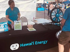 Hawaiian Electric at the Kapolei Sustainability Fair — June 29, 2019: Attendees who spun the wheel received a prize or energy-saving tip from the folks at Hawaii Energy.