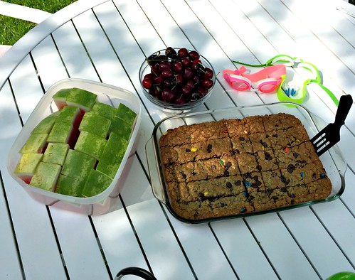 healthy kids' snack by the pool