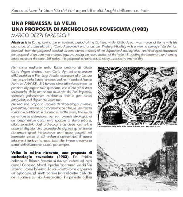 ROMA ARCHEOLOGIA e RESTAURO ARCHITETTURA: Marco Dezzi Bardeschi, Una premessa: la Velia, una proposta di archeologia rovesciata (1983), in: ANANKE No. 82 / SETTEMBRE (2017): 15-17.