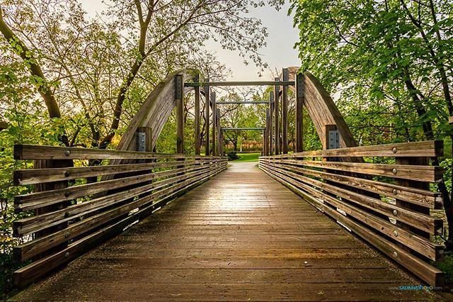 Wooden bridge after a rainfall