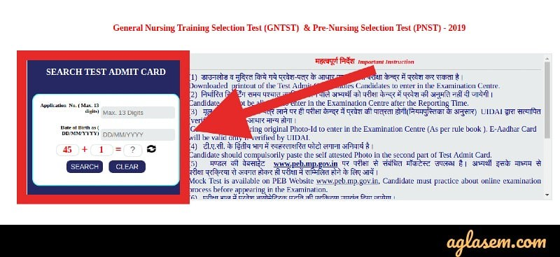 MP GNTST and PNST 2019 Admit Card