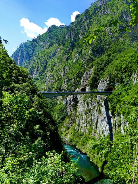 Montenegro, Piva canyon looking at the bridge