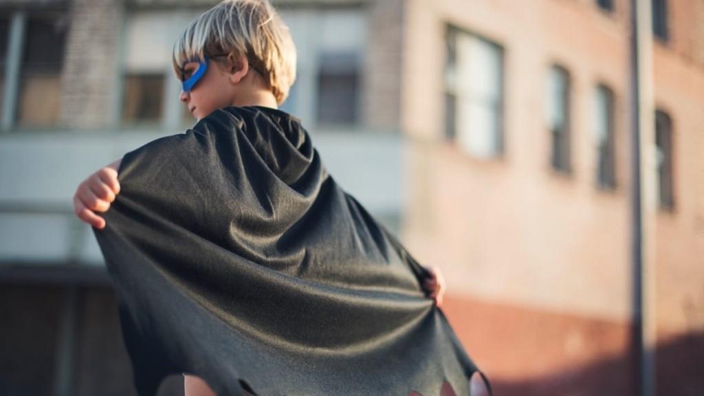 Boy dressed up as a superhero