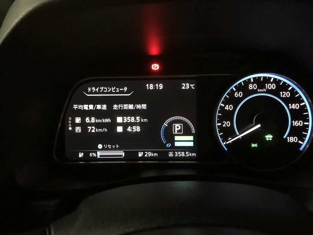 秋葉原到着時 日産リーフ e+(62kWh)メーター エアコンON