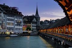 Kapelbrücke - covered wooden bridge; 14th century. Lucerne, Switzerland