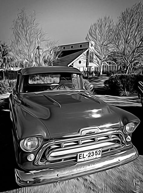 Antique Car Show - Piedra Roja - BW-19 - Expressionism - Topaz