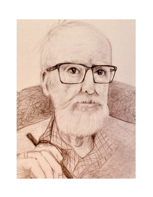 The Artist, Just now. Drawing in black pencil on card of jmsw.