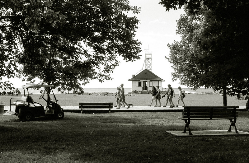 Walking Along the Boardwalk Past the Lifeguard Station