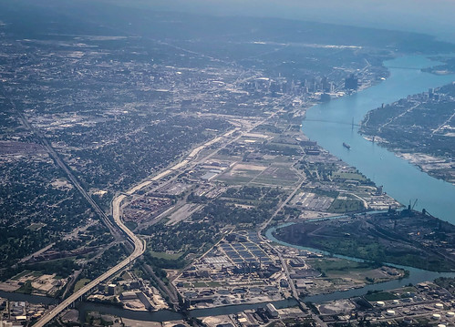 ecorse michigan unitedstatesofamerica aerial view detroit windsor ontario with river water greatlakes great lakes lake city canada mi us