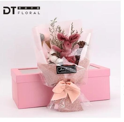 萌萌許願兔乾燥花束精緻禮盒包裝