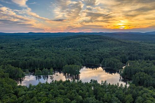 brookline mavic2pro newhampshire sethjdeweyphotography aerial drone summer sunset woodlands