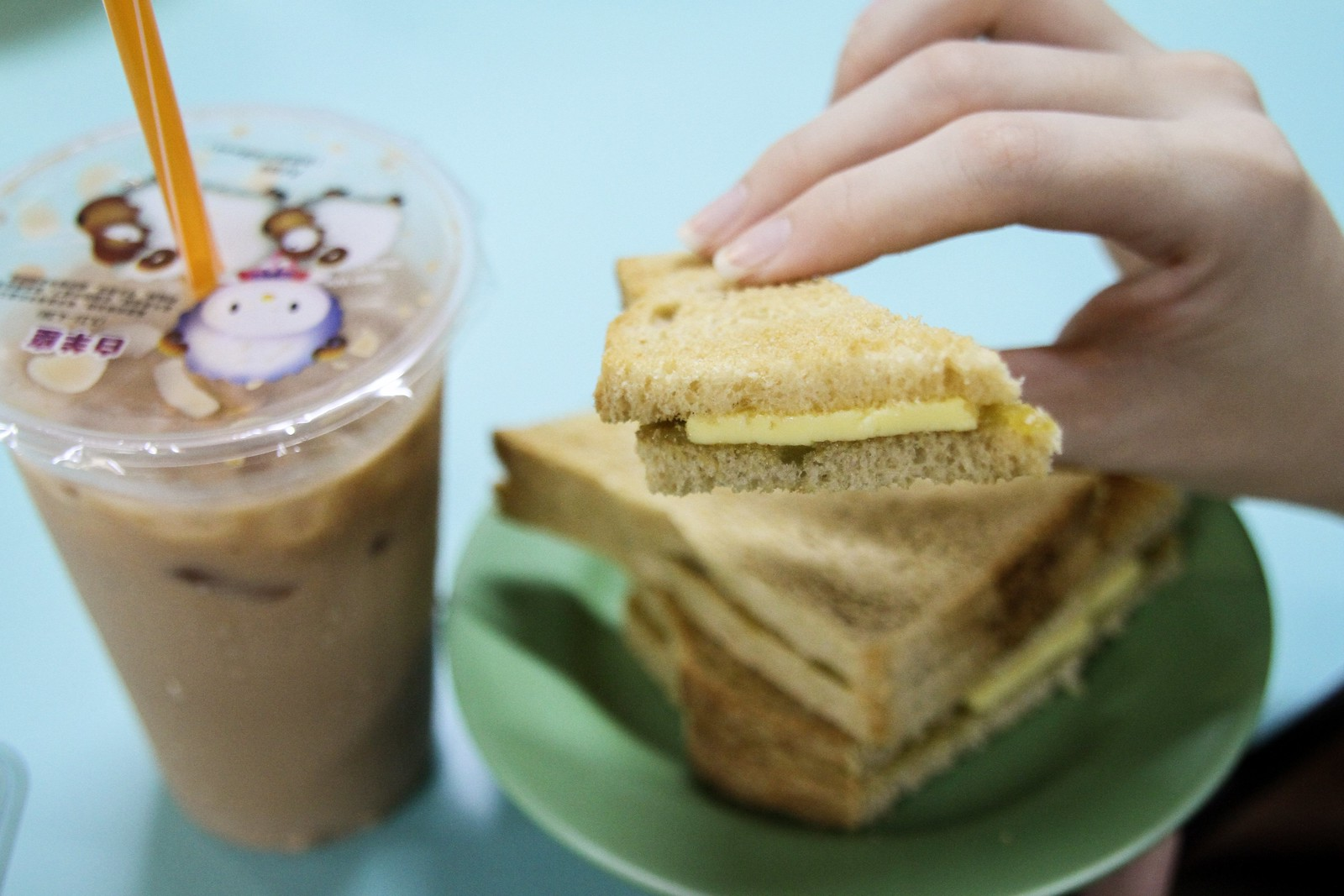 Hong Lim Food Centre Kaya Kaya Bread and Teh Bing