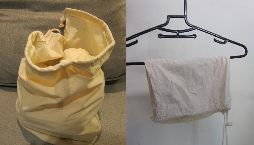 可重複使用的胚布袋可以取代塑膠袋。攝影:小玉。