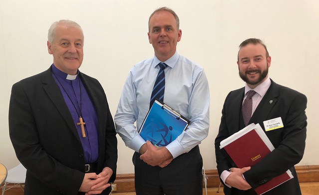 Chairman of the General Synod Board of Education (RI) Archbishop Michael Jackson and Secretary to the board, Dr Ken Fennelly, with Minister for Education and Skills, Joe McHugh.