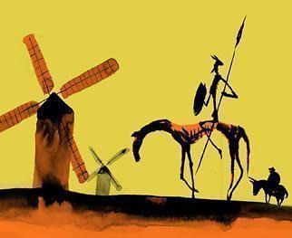 Famosa escena de Don Quijote frente a los molinos