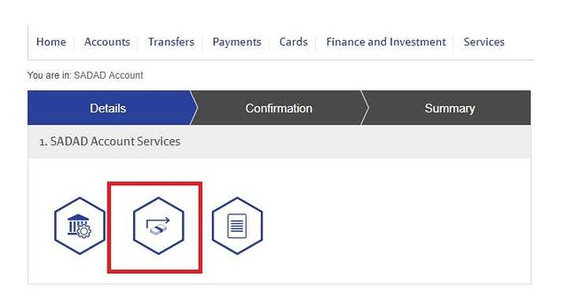 5221 How to transfer funds from Bank Account to SADAD account 02