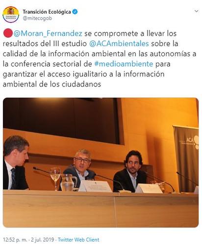 Hugo Morán se compromete a llevar los resultados del III estudio sobre la calidad de la información ambiental en las autonomías de ACA a la conferencia sectorial de Medio Ambiente