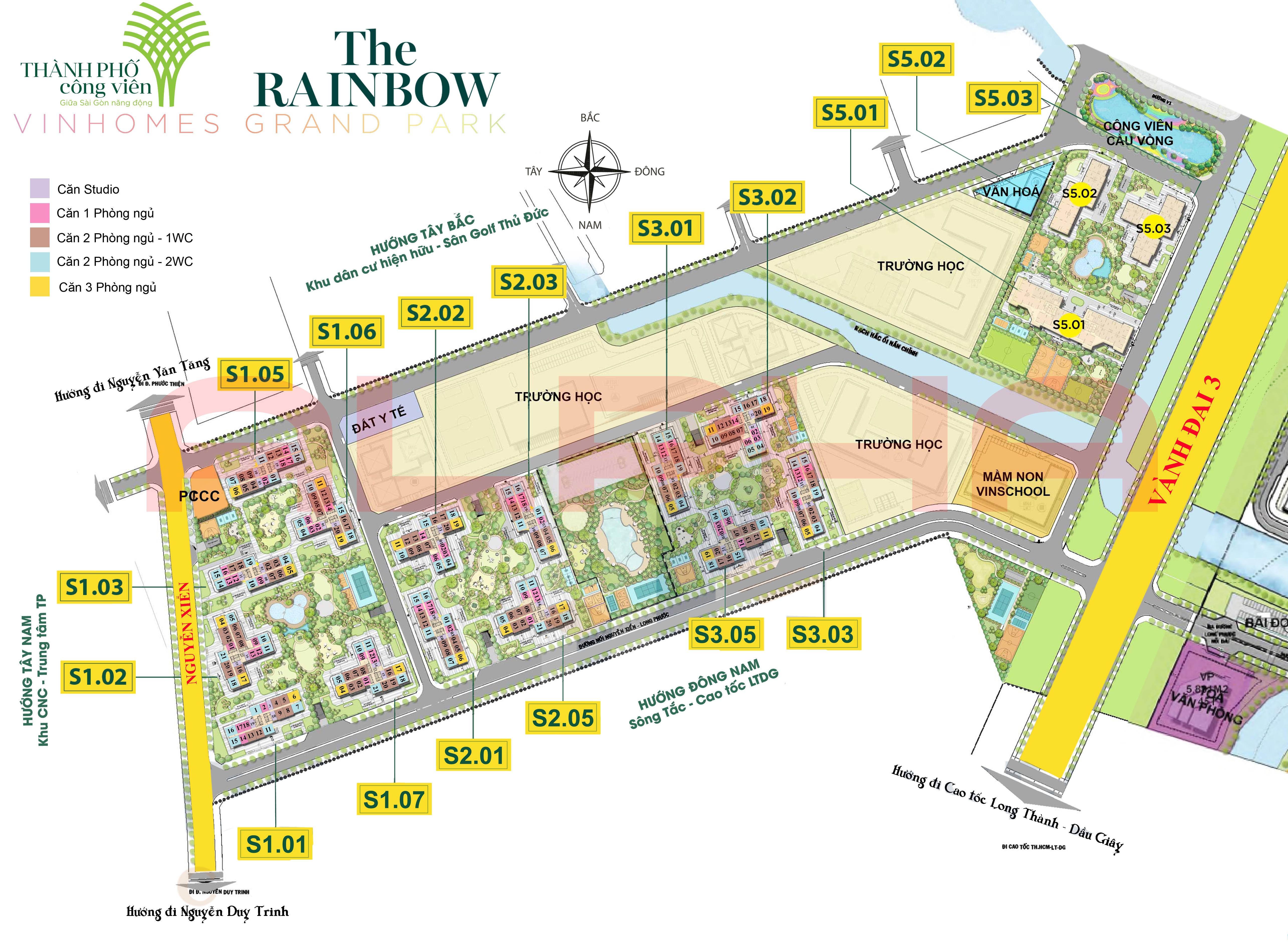 Mặt bằng phân khu RainBow thuộc Vinhomes Grand Park Quận 9