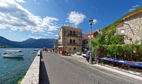 perast montenegro boat sea landscape seascape seaview people building road embankment clouds nikon d810