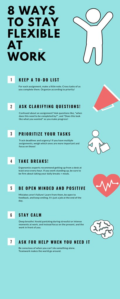 Flyer of 8 ways to stay flexible at work