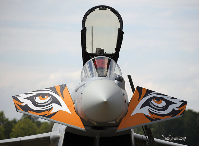 Close-Up Spanish Air Force Eurofighter Typhon 142 Tiger Squadron 14-32 2019-06-14 13-49-56 Vendredi 14 juin 2019 - Volkel 2019 - mod et signé
