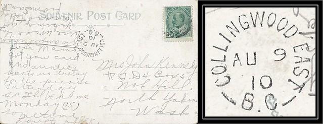 British Columbia / B.C. Postal History - 9 August 1910 - COLLINGWOOD EAST, B.C. (split ring / broken circle cancel / postmark) to Nob Hill, North Yakima, Washington, USA