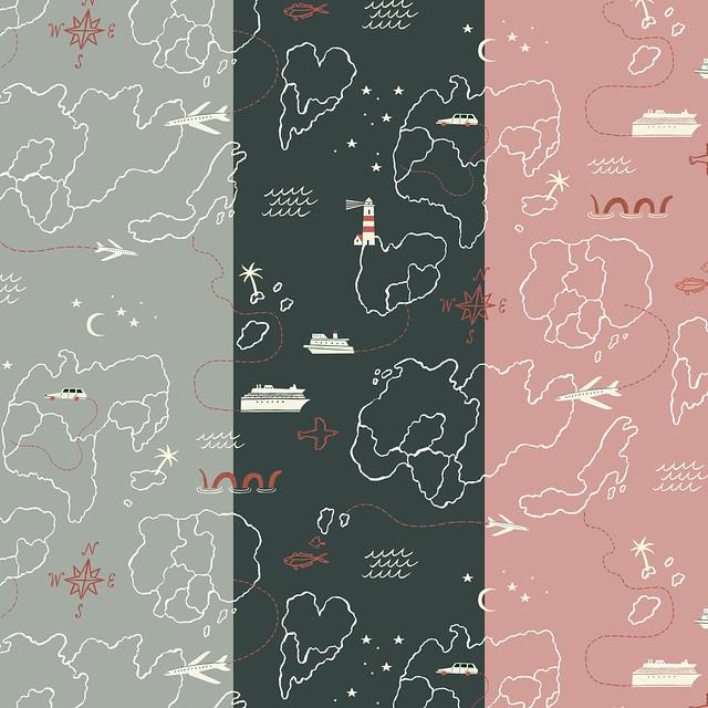 Map print for FIGO fabrics