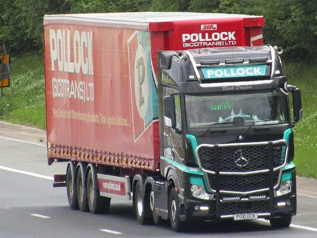 Pollock Transport, Mercedes Actros PO10OCK On The A1M Northbound