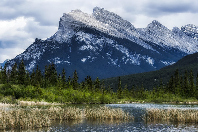 Mount Rundle from the shore of the Vermilion Lakes - Banff National Park - Alberta, Canada