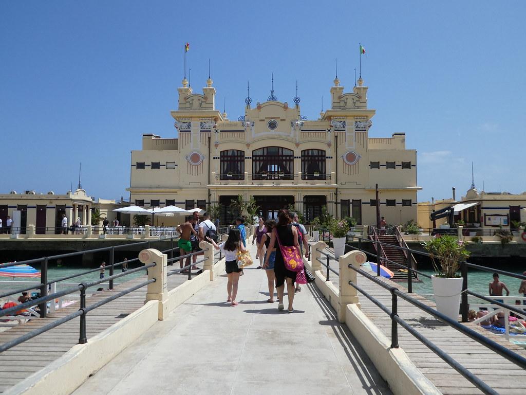 Charleston art-nouveau building at the end of the pier, Mondello