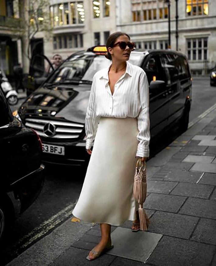 satin skirt street style summer trend 201910