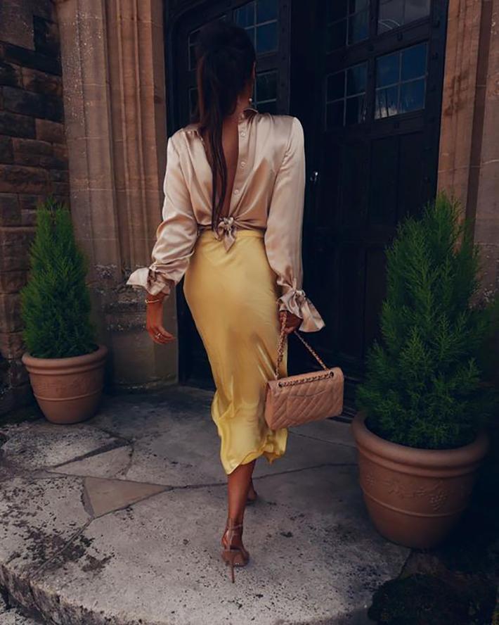 satin skirt street style summer trend 20199