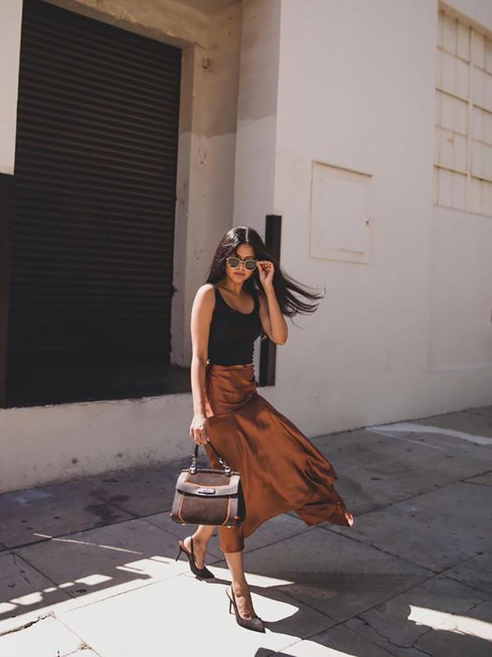satin skirt street style summer trend 20196