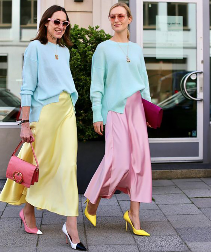 satin skirt street style summer trend 20191