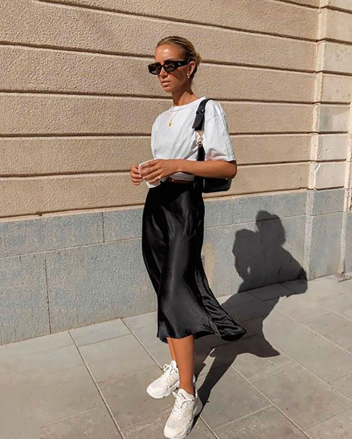 satin skirt street style summer trend 20198