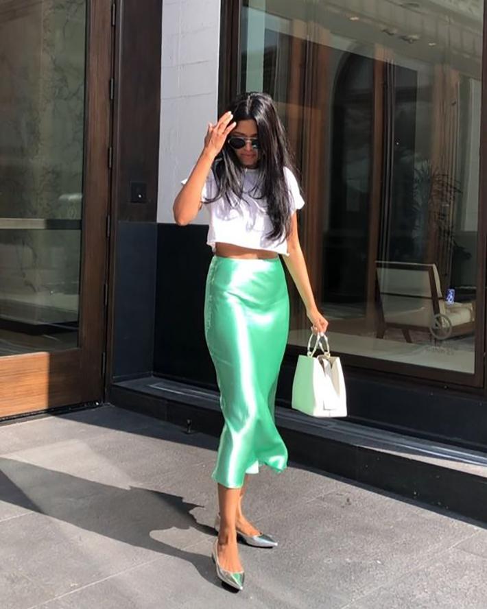 satin skirt street style summer trend 20197