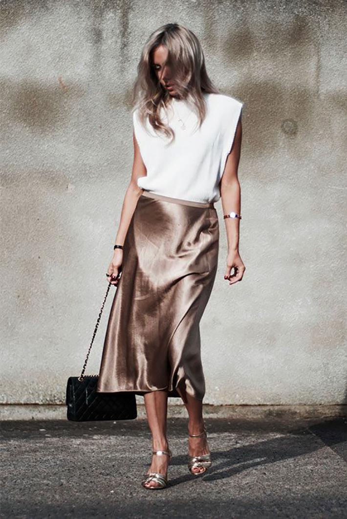 satin skirt street style summer trend 20192